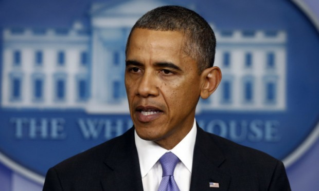 President Barack Obama makes a statement to reporters in the Brady Press Briefing Room at the White House.