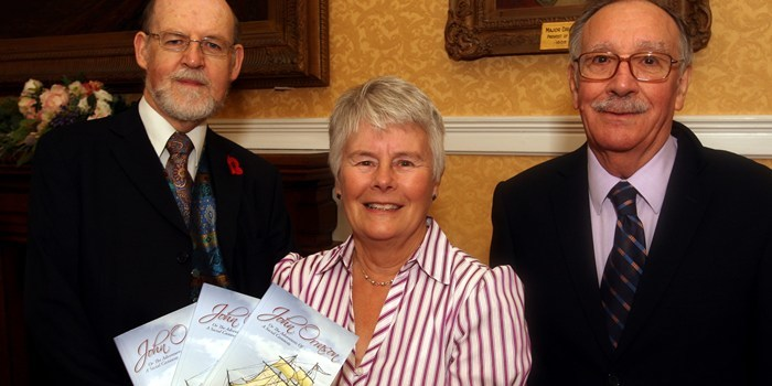 John Stevenson, Courier,28/10/10.Fife.Dunfermline,City Chambers.book launch of John Orrason,Adventures of a Social Castaway.Pic shows l/r Iain wilkinson(booillustrator),Dr Jean Barclay(editor),Clive Willcocks(DHPC Publications Committee).