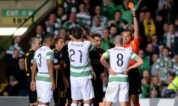 Scott Brown was  shown a straight red card after his coming together with Neymar.