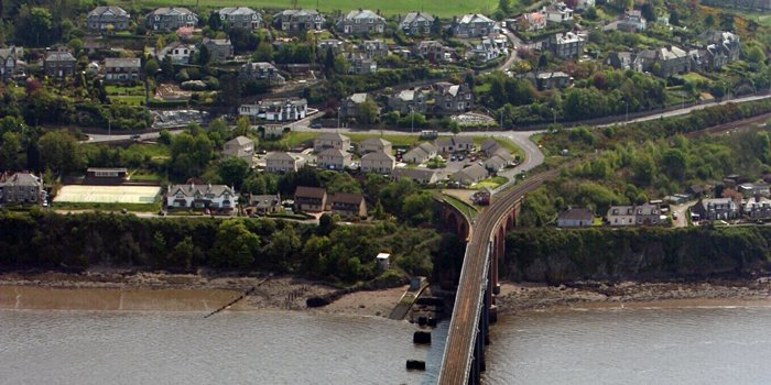 Aerial view of Wormit, showing the Tay Rail Bridge.