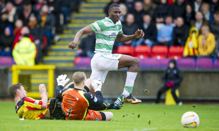 Celtic's Amido Balde (right) gets the better of Aaron Muirhead (left) and Scott Fox.