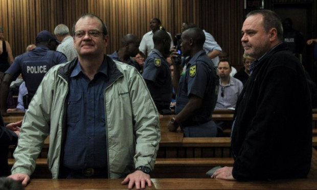 Boeremag co-leaders Andre du Toit, left, and brother Mike du Toit, stand in the dock.