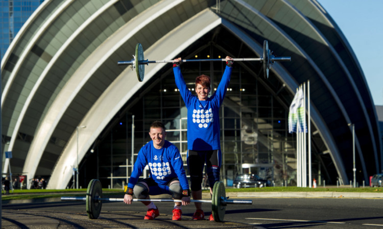 Weightlifters Georgi Black and Craig Carfray at the Clyde Auditorium, Glasgow.