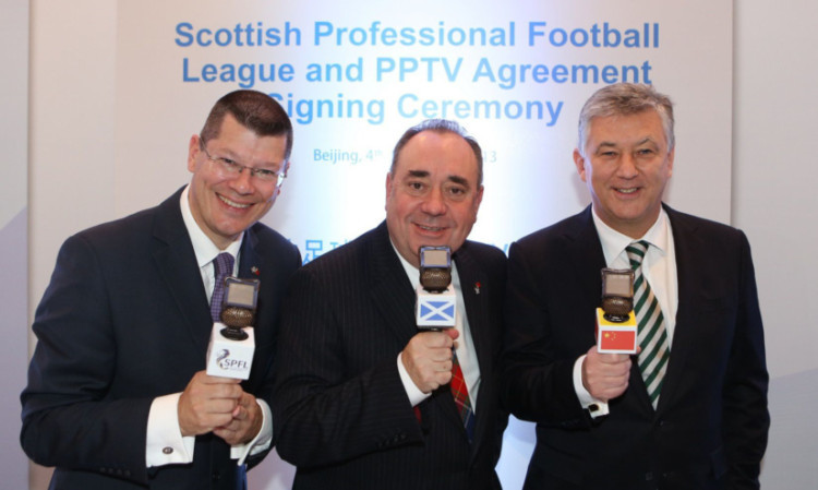 Sealing the deal, from left: Neil Doncaster, First Minister Alex Salmond and Peter Lawwell.