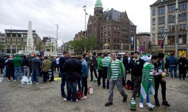 Celtic fans have a pre-match party in Amsterdam.