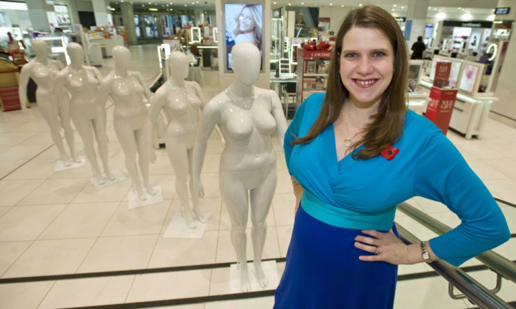 MP Jo Swinson at Debenhams, Oxford Street, for the launch of their size 16 mannequin range