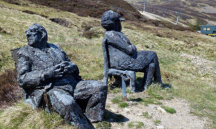 The statues at the foot of Cairnwell before 'Maggie' was removed.