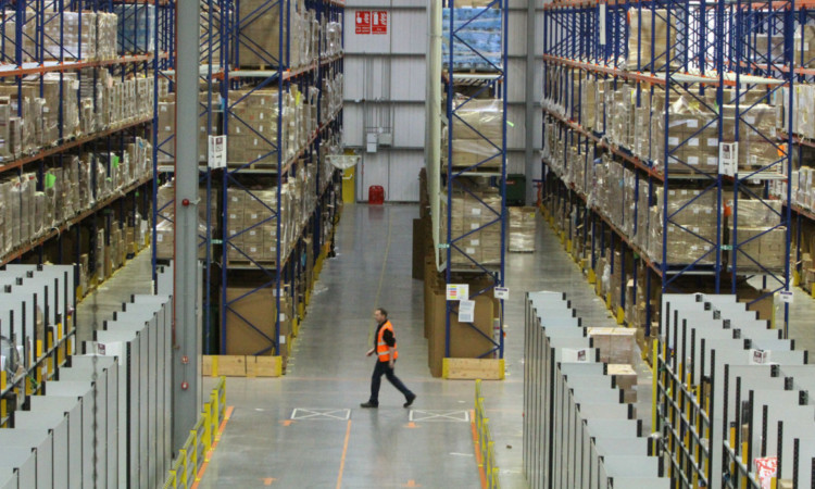 Inside one of Amazon's vast warehouses in Fife.