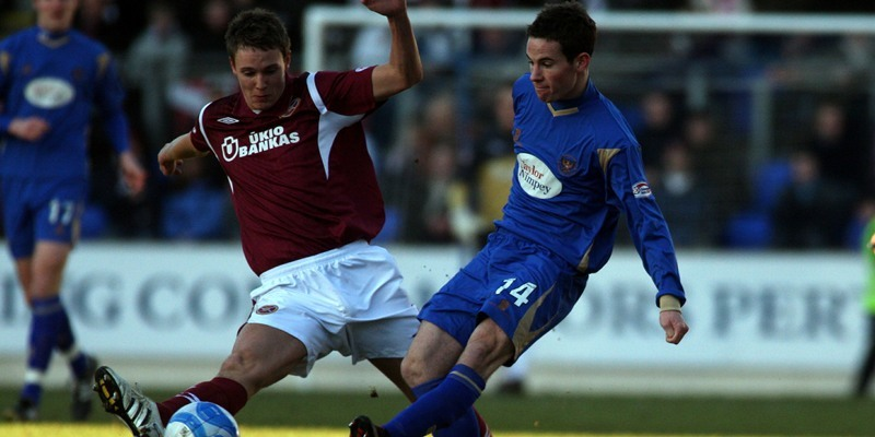 Football, St Johnstone v Hearts.    Pictured, left is Eggert Jonsson (Hearts) and right is Kevin Moon (Saints).
