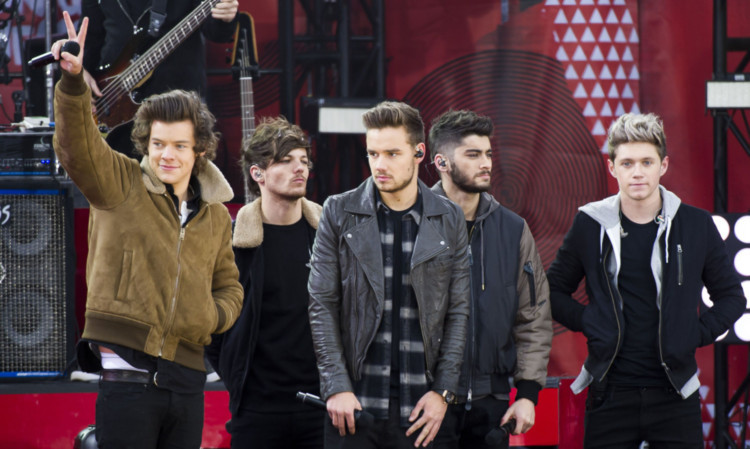 One Direction members, from left, Harry Styles, Louis Tomlinson, Liam Payne, Zayn Malik and Niall Horan perform in New York this week.