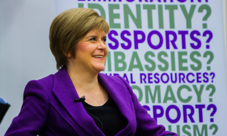 Ms Sturgeon speaking to a packed audience at Dundee University.
