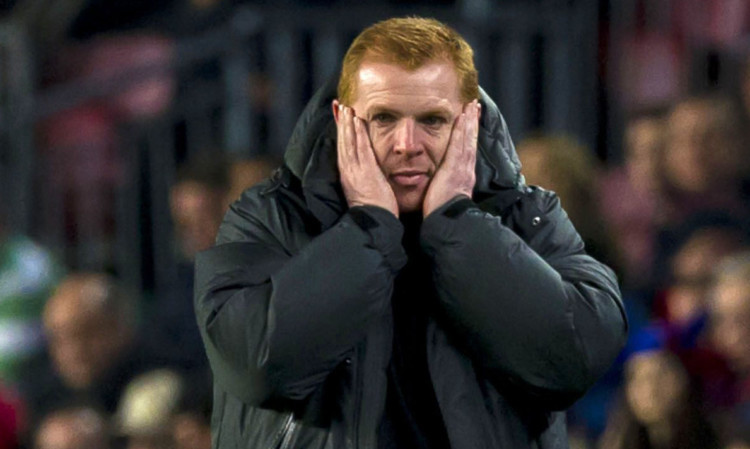 Neil Lennon during Celtic's nightmare in the Nou Camp.
