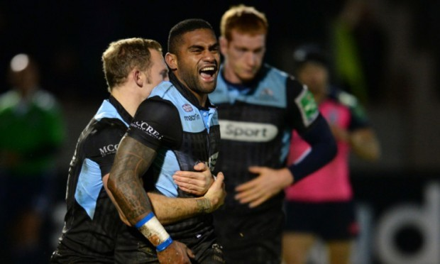 Glasgow Warriors' Niko Matawalu celebrates but his try was then ruled out by the referee for obstruction.
