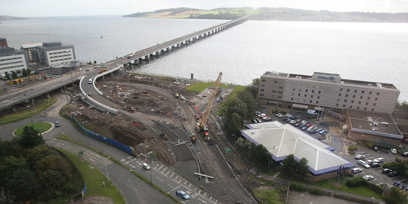 Krisd Miller, Courier, 06/09/11. Picture today of roadworks around Tay Bridge area from Tayside House.