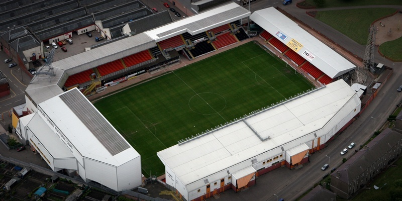Aerial view of Tannadice Park, Dundee.