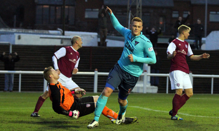 Ryan Thomson turns away after scoring Dunfermlines second goal against Arbroath at Gayfield.