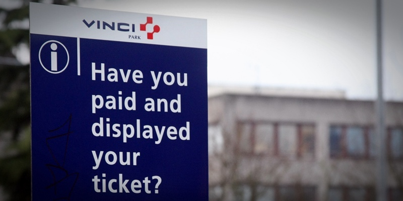 Parking signs at Ninewells Hospital car park, Dundee.