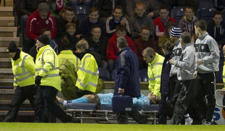 Kyle Letheren is stretchered off at Starks Park.