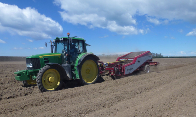 The Scanstone stone and clod separator hard at work on Canterbury Plains.