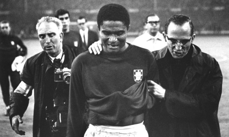Eusebio was top scorer at the 1966 World Cup, has died at the age of 71 after reportedly suffering cardiac failure -  26 JUL 1966:  EUSEBIO OF PORTUGAL LEAVES THE PITCH IN TEARS AFTER ENGLAND BEAT HIS TEAM 2-1 IN THE WORLD CUP SEMI-FINALS AT WEMBLEY STADIUM. Mandatory Credit: Allsport Hulton/Archive