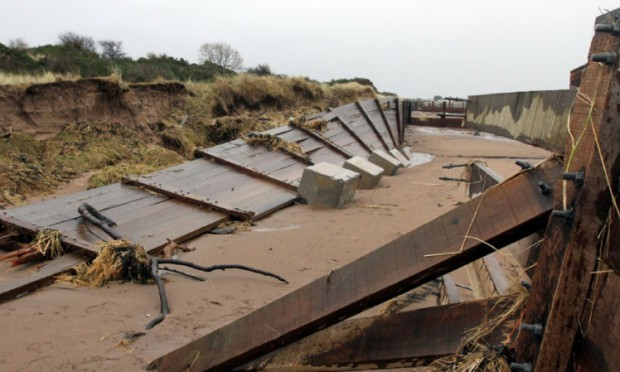 The flood defences have proved unable to stand up to recent conditions.