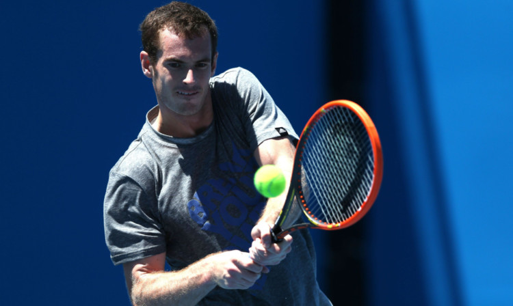 Andy Murray in his last practice session before his first round.