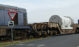 Nuclear material being transported to the Sellafield nuclear re-processing plant in Cumbria.