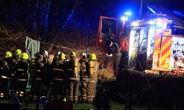 Tayside Fire Fighters at the scene of Fatal fire, Millhaugh farm , GlenalmondPic Phil Hannah