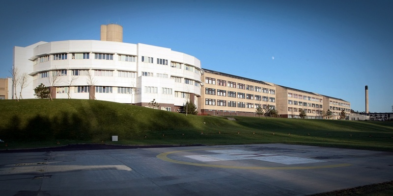 Kim Cessford, Courier - 05.01.12 - FOR FILE - pictured in the building exterior of Ninewells Hospital showing the helipad in the forground