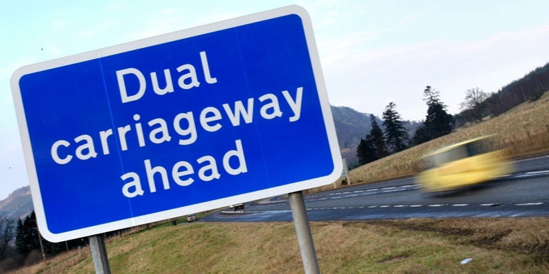 Kris Miller, Courier, 31/01/12. Picture today shows Dual carriageway ahead sign near Pitlochry for story about dualling of A9.