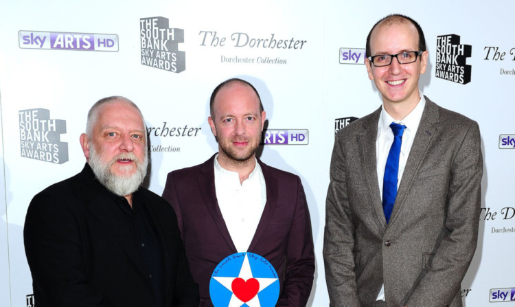 Actor Russell Beale (left) presents the award to John Tiffany and Jack Thorne.