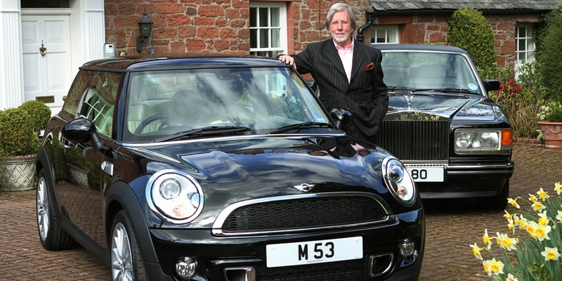 DOUGIE NICOLSON, COURIER, 16/04/12, NEWS.Pictured at home in Bridge Of Earn today, Monday 16th April 2012, is Ian Imrie with his new Mini Goodwood beside his Rolls Royce. Story by Perth office.