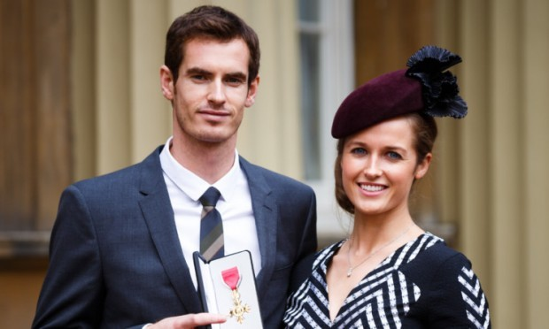 Andy Murray with Kim Sears after collecting his MBE in October.