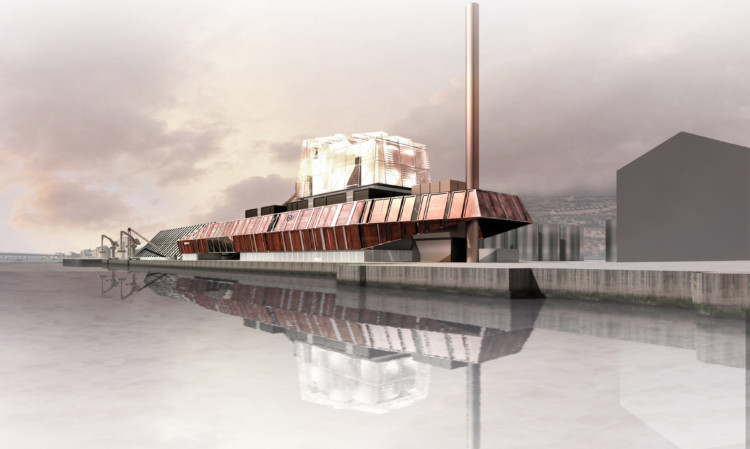 An artist's impression of the biomass plant planned for Dundee.