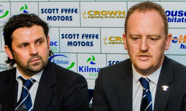 Paul Hartley alongside Scot Gardiner at Wednesday's press conference.