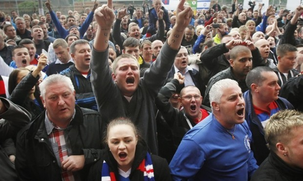 Rangers fans protest during a demonstration outside Ibrox Stadium, Glasgow.