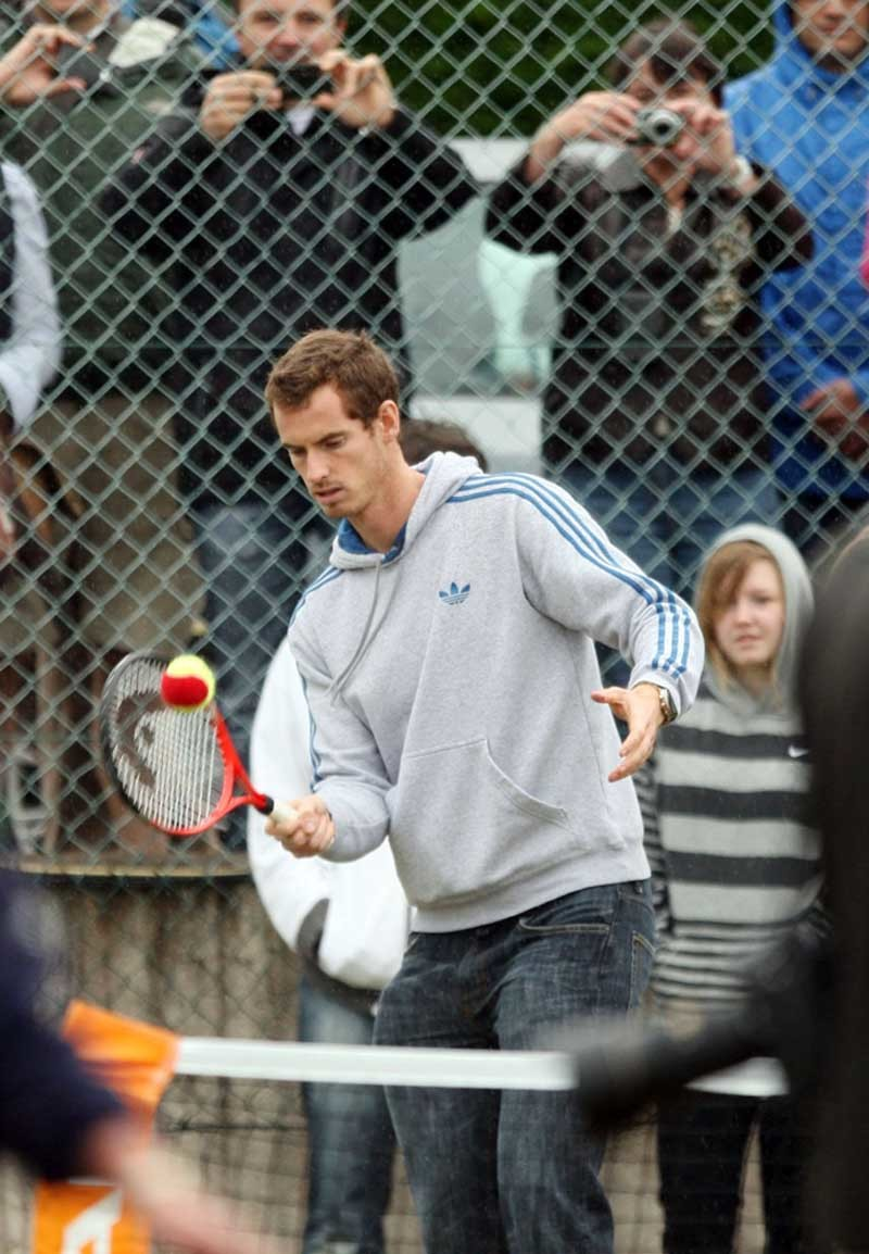Olympic and US Open champion Andy Murray plays at his old club in Dunblane, near Stirling in Scotland, eturn to his home town to thank fans for their support.