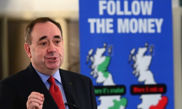 Alex Salmond addressing a Business for Scotland event in Aberdeen on Monday morning.