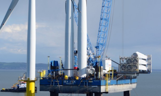 A Siemens turbine being installed offshore