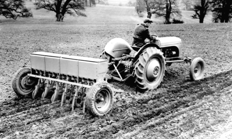 A Ferguson drill behind an early Ferguson tractor. The drills were 13-row machines and could be specified as grain only or combined models.