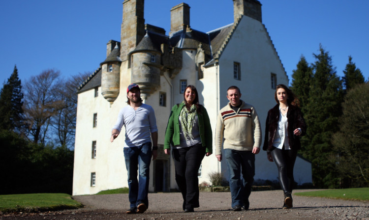 From left;, BAFTA winning film director Stuart Brennan, Festival Director Jo Hood, Festival Director Joe Baillie and Lead acress in Plan Z Victoria Morrison at Tullibole Castle.