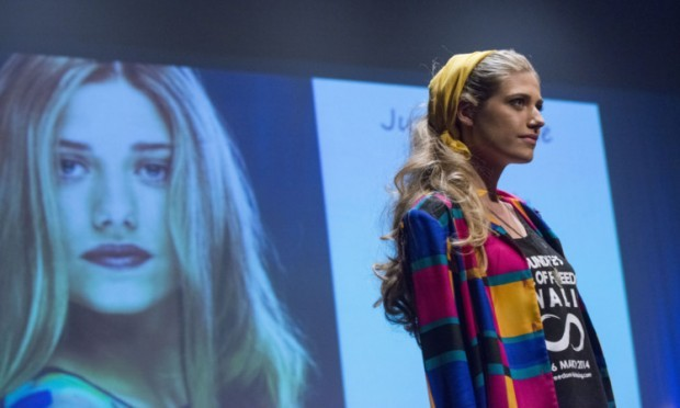 A model poses at the event in the Gardyne Theatre.