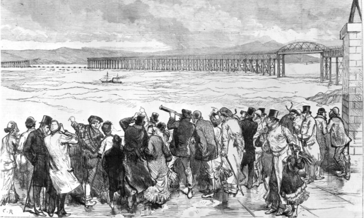 A drawing from the Illustrated London News depicting crowds viewing the Tay Bridge after the disaster.