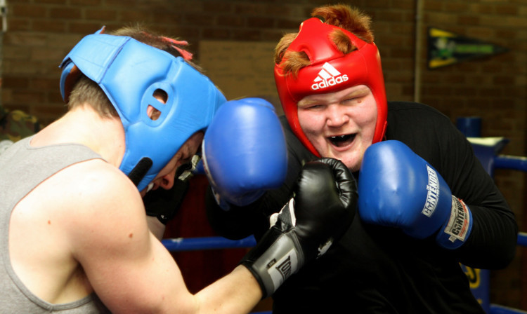 Sparring at the Lochee Boys Club ahead of the Dundee Fight Night.