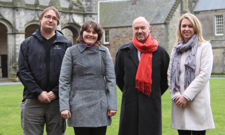 from left: Dr Per Ola Kristensson, Dr Catherine Cazin, Professor Andrew Whiten and Dr Katie Stevenson.