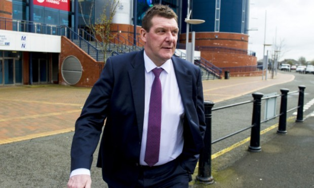 St Johnstone manager Tommy Wright leaves Hampden after his appeal hearing.