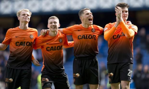 Dundee United quarter (from left) Gary Mackay-Steven, Ryan Gauld, John Rankin and John Souttar celebrate at full-time.
