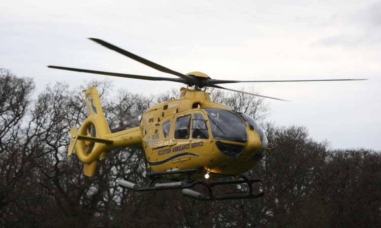 The helicopter at Mains of Pitcastle farm.