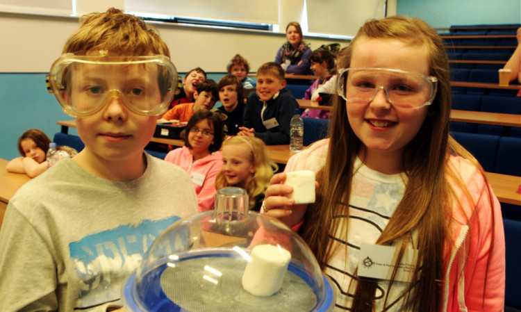 athan Cassells and Holly Findlay with expanding marshmallows.