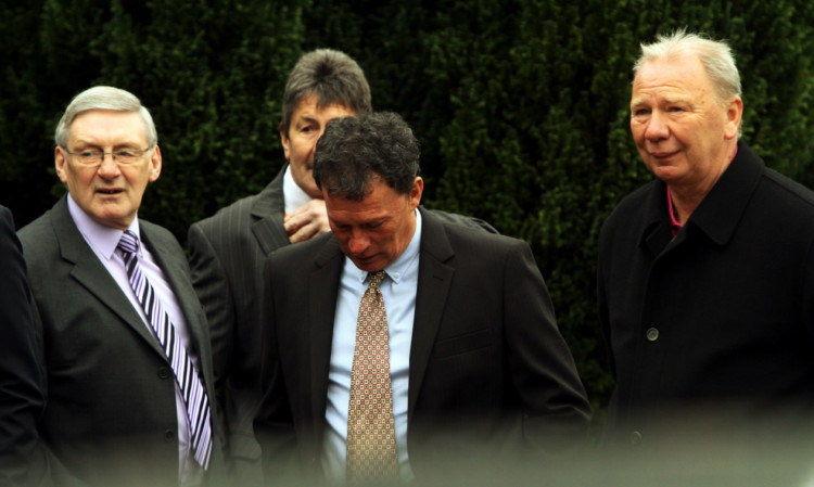 Former Dundee United players Andy Rolland, Hamish McAlpine, John Holt and Davie Dodds at the funeral.